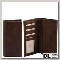 Портмоне Tuscany Leather (эксклюзивный вертикальный бумажник с карманом на молнии) Темно-коричневый