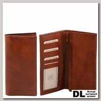 Портмоне Tuscany Leather (эксклюзивный вертикальный бумажник с карманом на молнии) Коричневый