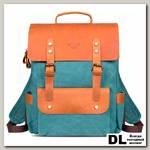 Рюкзак Ginger Bird Грог 15 с карманами голубой (пингвины)