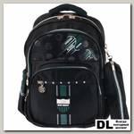 Рюкзак школьный в комплекте с пеналом Sun eight SE-2759 Чёрный/Тёмно-зелёный