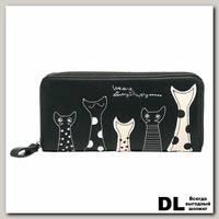 Кошелек 'Коты в горошинку и полосочку' (черный)