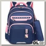 Рюкзак школьный в комплекте с пеналом Sun eight SE-2787 Тёмно-синий/Розовый