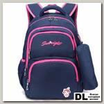 Рюкзак школьный в комплекте с пеналом Sun eight SE-8258 Тёмно-синий/Розовый