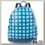 Женский кожаный рюкзак Orsoro d-447 голубые квадраты