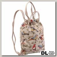 Рюкзак на шнурках Pola 4350 Птицы бежевый